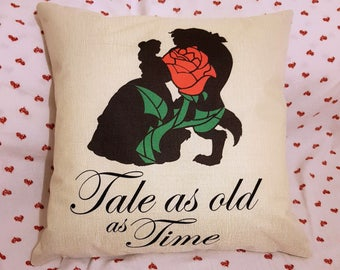 "beauty and the beast silouette with enchanted rose  quote  "" tale as old as time ""  inspired cushion cover 45 by 45 cm  gift"