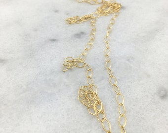 14k Gold Filled Hammered Marquee Link Layering Chain with 14k Gold Filled Nugget End Beads