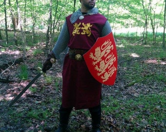 King Richard Lionheart Medieval Crusader Knight Surcoat Tabard Tunic
