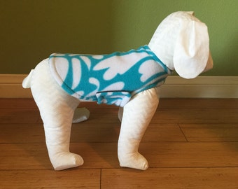 Fleece Dog Coat, Extra Small, Aqua Blue and White Leaf Print with Charcoal Gray Fleece Lining