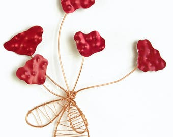 Small Bundle of Blooms, Red Anodized Aluminum Flowers with Woven Copper Wire