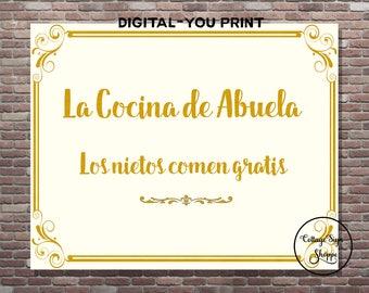 La Cocina de Abuela, La Cocina Wall Art, DIGITAL-YOU PRINT, Mothers Day Gift Ideas, Abuela's  Cocina