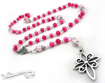 Advent pink Rosary necklace, catholic rosaries, confirmation rosary, girls rosaries, ladies rosary, catholic gift, necklace rosary, rosaries