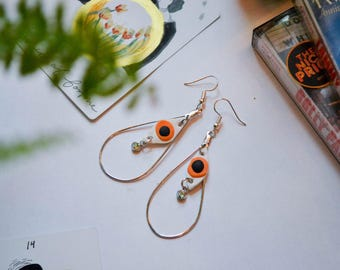 Teardrop Hoop Earrings with Orange Eye Beads