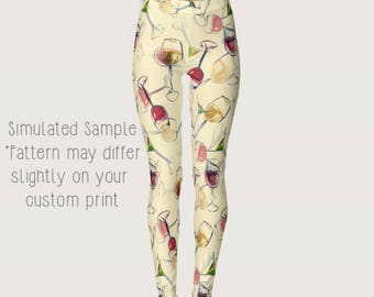 Wine Leggings, Yoga Pants, Grapes, alcohol, beverage, vino, winery, white, red, fruit, rose, mead, Drinking, Glasses, Sommelier XS-XL Wine 2