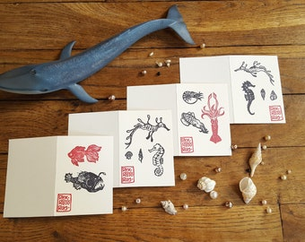 The Aquatic Family 2. Set of 4 folded note cards, handprinted with various sea creatures