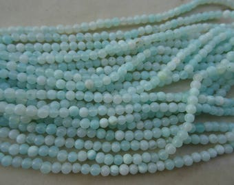 3-3.25 mm Sky Blue Peruvian Opal Smooth Round Full 13 inch Strand-Best Price-AA+