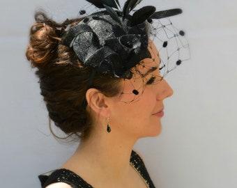 PARIS Fascinator Black Hat | Mother of the Bride/groom | Wedding guest fascinate | Kentucky Derby or Saratoga Hat | Melbourne Cup fascinate