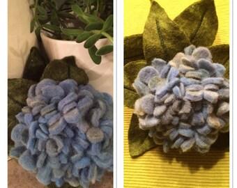 Hydrangea blue, felt flower