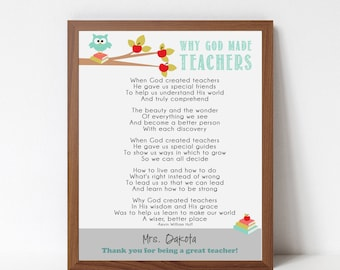 Gift for Teacher - Custom Print for the Wall - Personalized Poem - Why God Made Teachers
