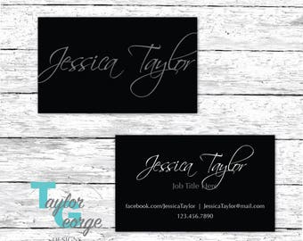 Calligraphy Business Card - Black Business Card - Simple Business Card - Elegant Card - Mens Business Card - Minimalistic Branding