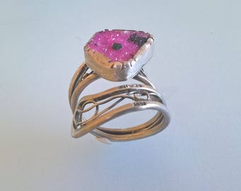 Artistic Sterling Silver Ring With A Pink Dolomite druzy Stone