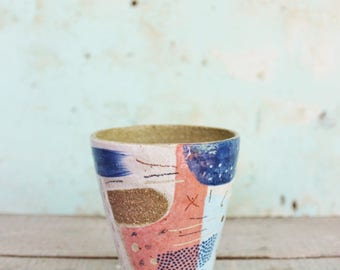 READY TO SHIP Ceramic Beaker Stoneware Watermelon Pink Blue Abstract Rustic Texture Coffee Latte Australia