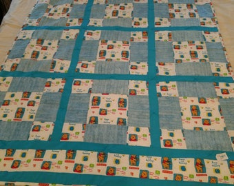Winnie the Pooh baby blanket. This cuddly baby blanket is cotton front and back, with poly-cotton batting between. BB1