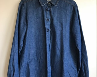 Vintage Denim Button Up Toggle Shirt Women's Size Large