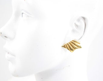 Vintage 90's Abstract Shaped Gold Tone Retro Pierced Earrings