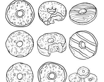 mewarnai indah kleurplaat donut en tekst