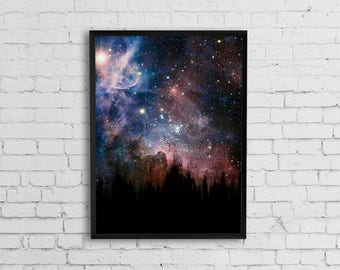 Space art, Space print, Abstract painting, Digital art, Space poster, Outer space art, Nebula art poster, Instant download wall art