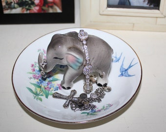 OOAK Forget Me Not Baby Elephant Vintage Floral Ring Dish