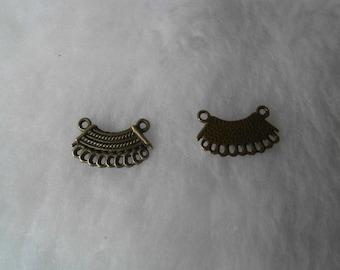 2 connectors bronze fan metal 20 mm x 12 mm