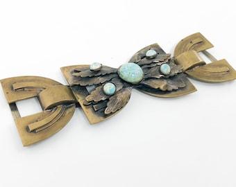 20s 30s Art Deco Buckle | Brass Leaf & Peking Glass Buckle | 3 Piece Buckle