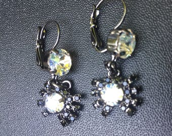 Halloween Swarovski Crystal Spider Dangle Levet Back Earrings