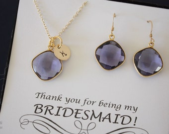 8 Bridesmaid Necklace and Earring Sets Navy Purple Quartz, Bridesmaid Gift, Translucent Purple Blue, Gold Filled, Monogram, Teardrop