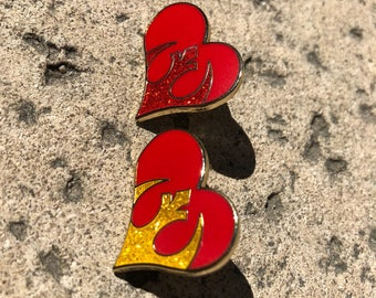 Rebel Love hard enamel pin READY-TO-SHIP in gold or red variants