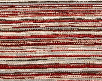 Dark Red Grey Woven Upholstery Fabric - Red Stripe Fabric for Furniture - Grey Red Taupe Pillows - Modern Red Tweed - Burgundy Upholstery