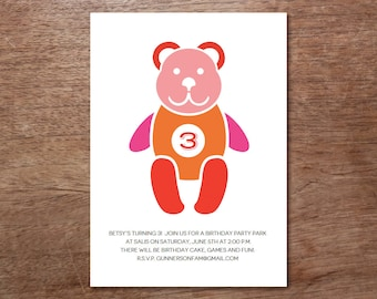 Teddy Bear Printable Birthday Party Invitation - Pink and Orange Teddy Bear Instant Download Party Invitation - Kids Party Invite DIY PDF
