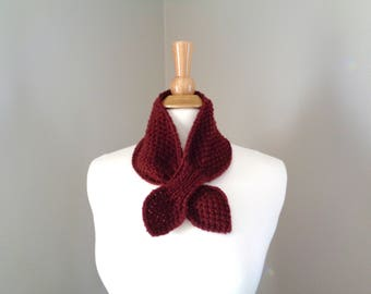 Burgundy Red Ascot Scarf, Cashmere Blend, Pull Through Scarflette, Neck Warmer, Cashmere Merino Wool, Hand Knit Scarf