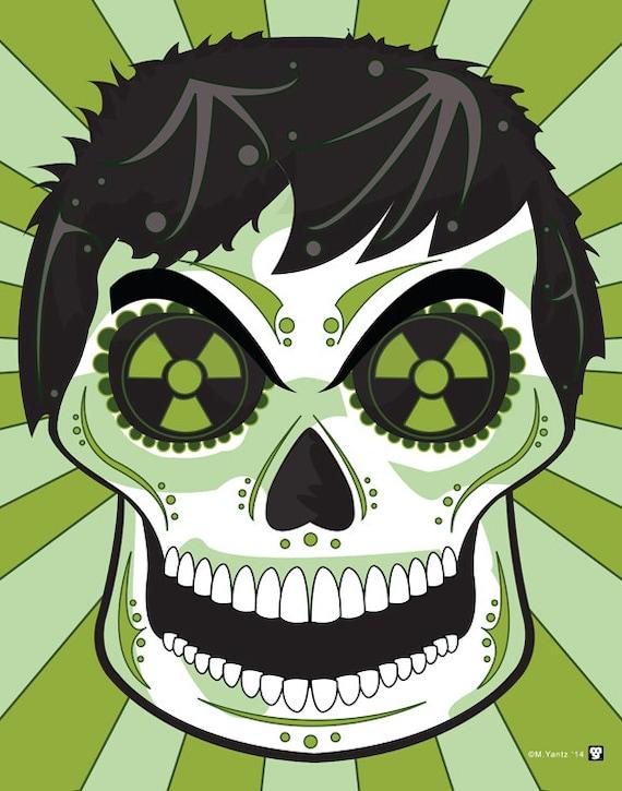 Impresión de 14 x 11 azúcar cráneo imprimir de Hulk