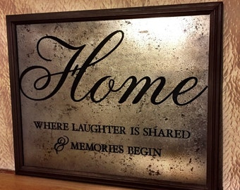 "Home Decor Sign ""Home Where Laughter is Shared & Memories Begin"" On Mercury Glass With Dark Brown Wood Picture Frame Home Decor Picture"