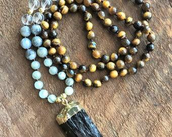 Black Tourmaline Mala, Labradorite Quartz Tigers Eye Mala Necklace, Bohemian Necklace, Healing Necklace, Chakra Yoga Necklace, Prayer Beads