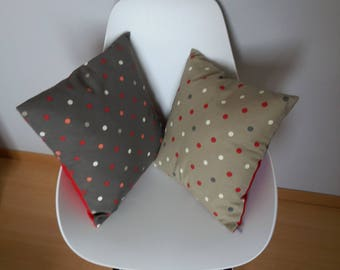 Cushion patterns of red, white and gray dots on dark grey or light taupe, timeless decor, gift
