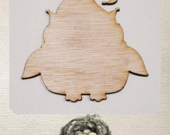 Owl with Elf Hat Ornament - Laser Cut Wood