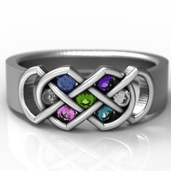 RESERVED FOR Jrff Celtic Birthstone Ring, Infinity Knot Birth Stone Ring, Custom Birthstone Mothers Ring,  Made in Your Size CR-771