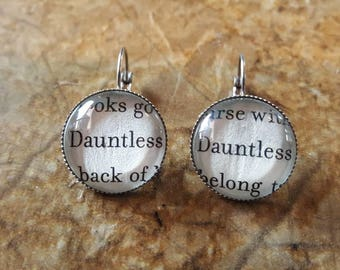 Divergent Faction book page earrings