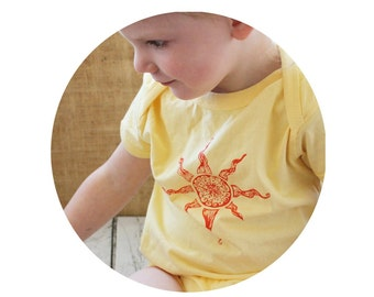 Sunny Summer Bodysuit Screenprinted With A big Orange Sun, Hand Printed, Short Sleeved, Butter Yellow, Spring Clothing, Unisex Baby Onpiece