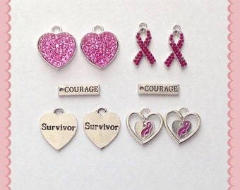 New Lot of 10 Breast Cancer Awareness Pink Ribbon Survivor Courage Charms
