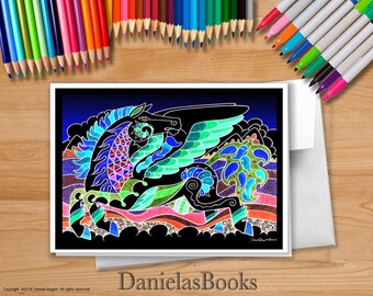 """1 Pegasus Card. """"Pegasus & Chilis"""" full color - blank inside with envelope. Packaged in clear sleeve. Perfect gift for art lovers."""