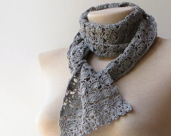 Crochet summer scarf, Gray lace scarf, Thin scarf, Women scarfs, Cotton lace scarf, Crochet scarf, Lace knit scarf, Gray lightweight scarf.