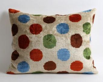 Ikat Velvet Pillow Cover - 16x20 Colorful Polka Dots Soft Silk Velvet Ikat Modern Decorative Home Decor Throw Lumbar Pillow Cover