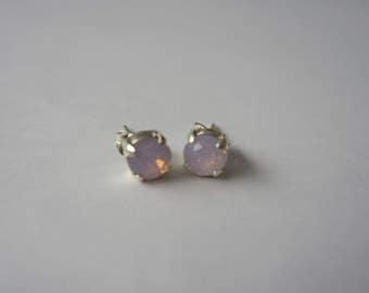 Rose Water Opal Swarovski Silver Plated Studs, 6mm, Pink Stud Earrings