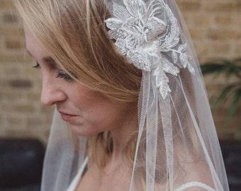 Juliet cap veil, 1920s veil, soft silky veil, Kate Moss veil, Juliet veil, boho veil, cap veil, cut edge veil, fingertip, waltz, chapel