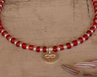 Silver Infinity Charm, Sterling Silver Beaded Bracelet, Red Glass and Silver Beads, Adjustable