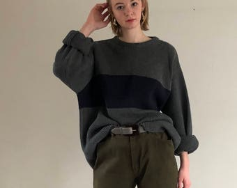 charcoal gray chunky cotton color block sweater / oversized sweater / vintage cotton slouchy sweater | L