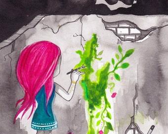 Ana Dess painting the world - Original drawing