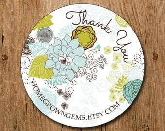 Customized Thank You Stickers - Fancy Flower Garden - Labels - Wedding - Birthday Party - Thank You Stickers