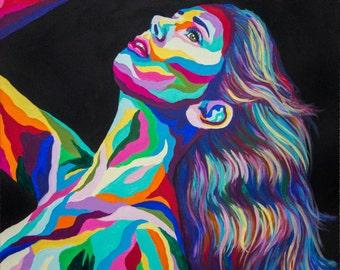 Vivid Colourul Rainbow Impressionist Portrait of Woman's Face Original Acrylic Painting on Gallery Wrapped Canvas Art by Breanna Deis